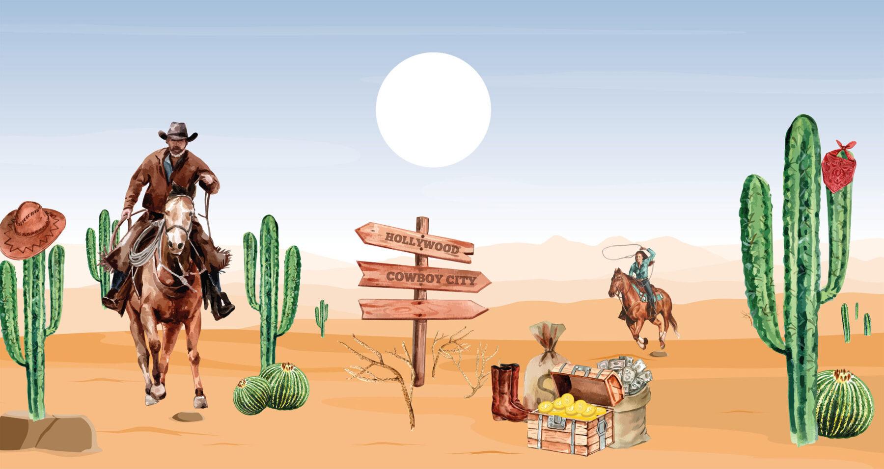 Cowboys in het wilde westen