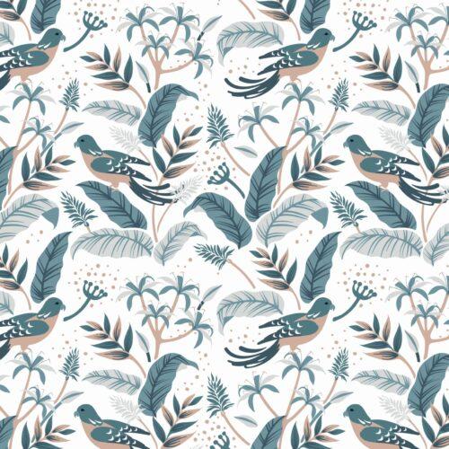 Behang tropische vogel, blauw