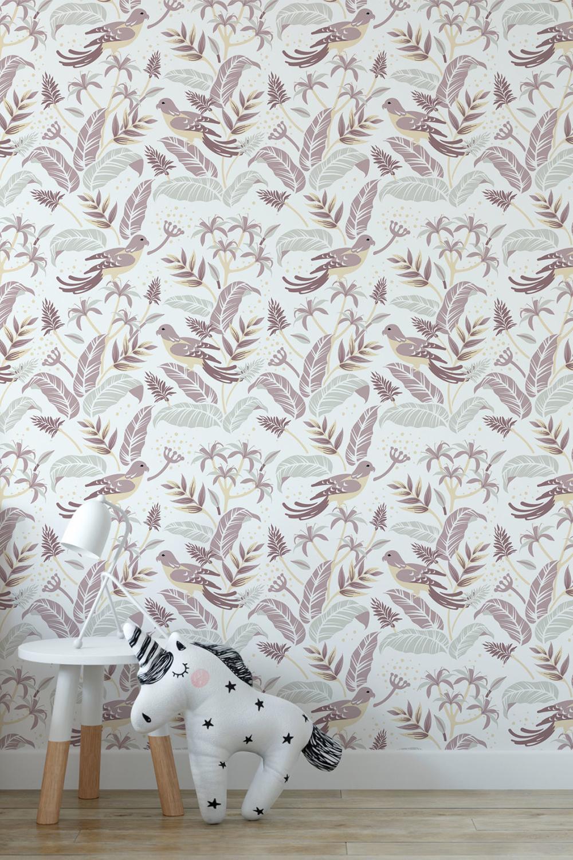 Behang vogels meisjeskamer - Tropische vogels, roze ~ Walloha