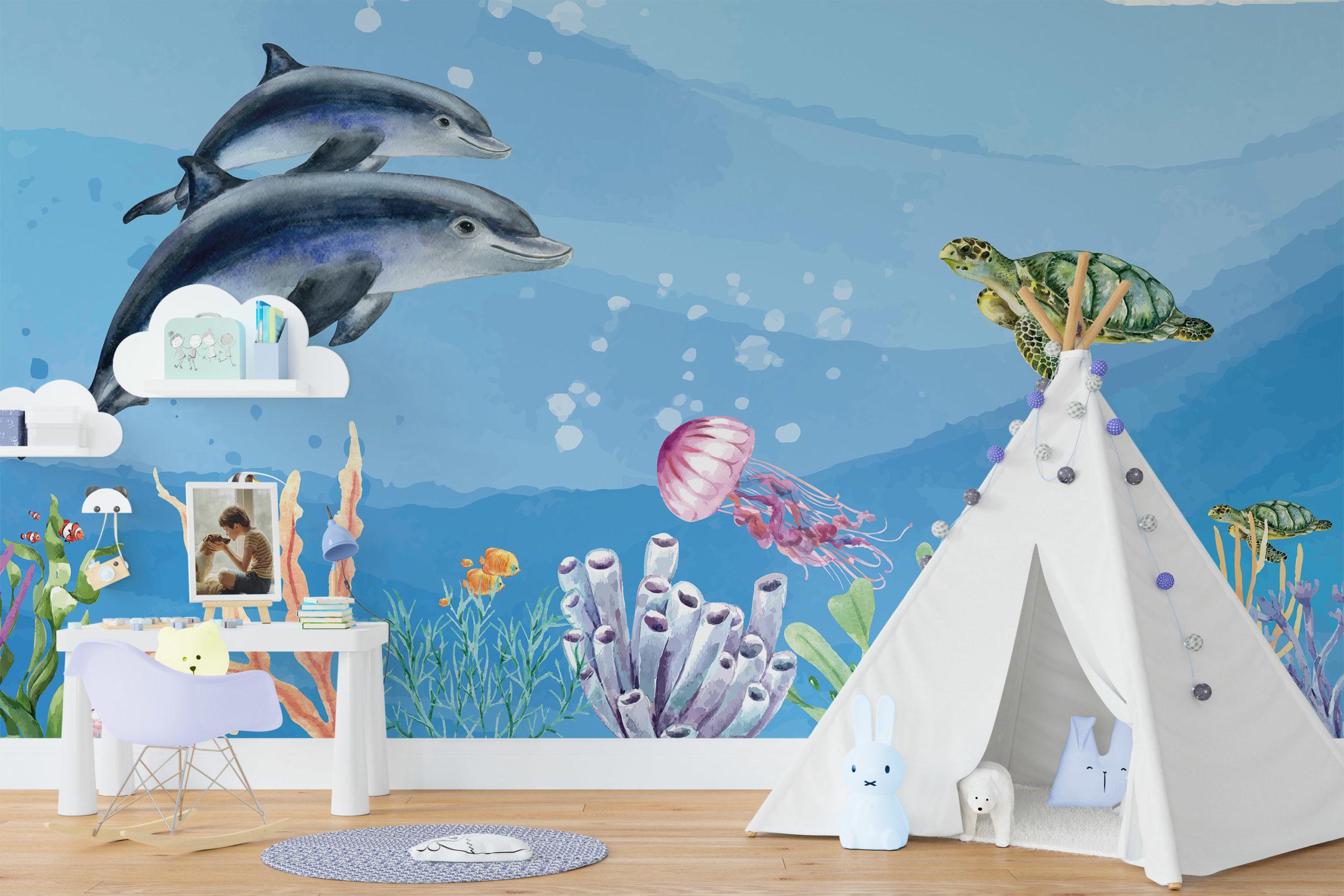 Oceaan met dolfijnen