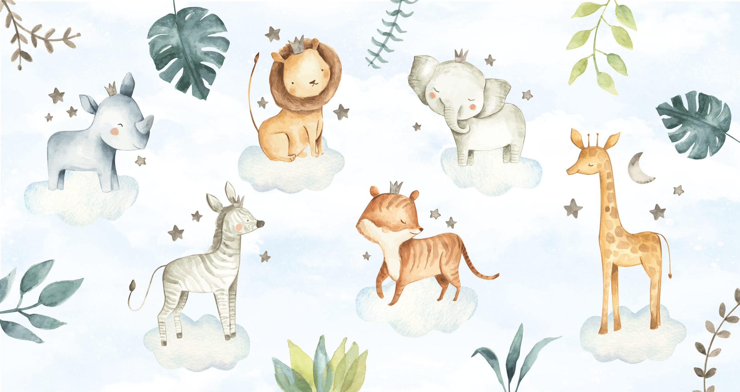 Schattige safari dieren op wolken