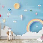 WP-045-Luchtballon wolken hartjes en een regenboog 2