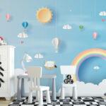 WP-045-Luchtballon wolken hartjes en een regenboog 3