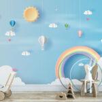 WP-045-Luchtballon wolken hartjes en een regenboog 4