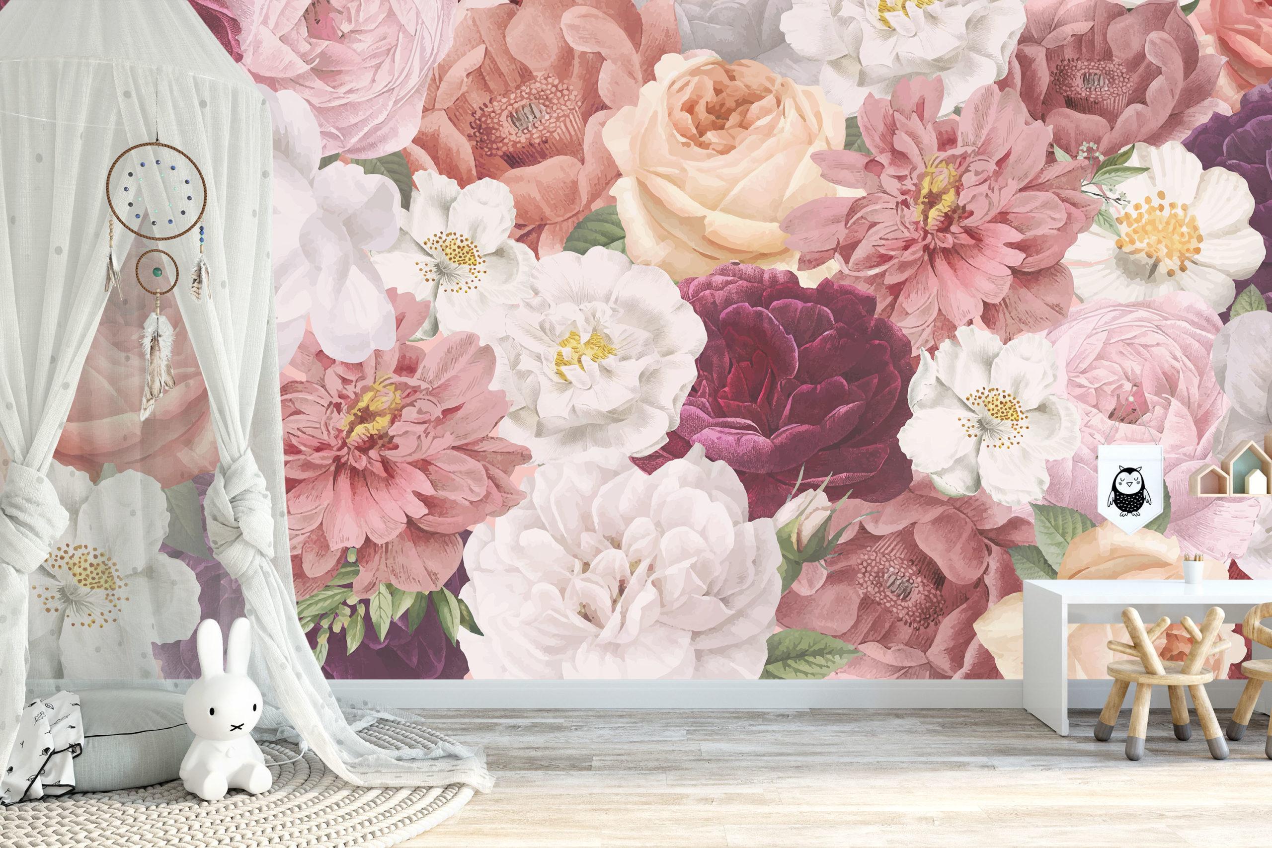 Klassieke schoonheid bloemenbehang