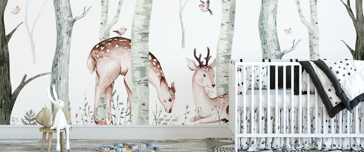 Behang herten in het bos
