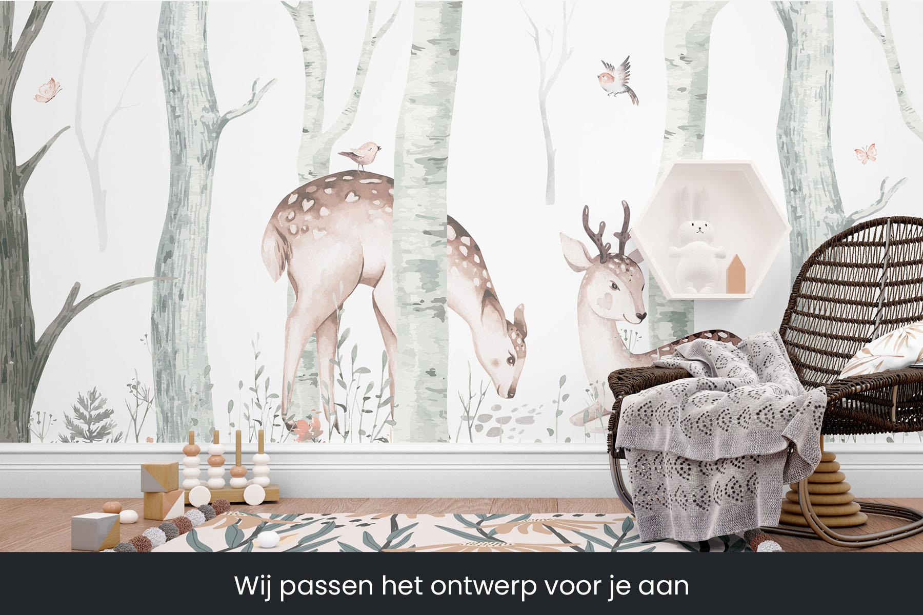 herten in het bos behang