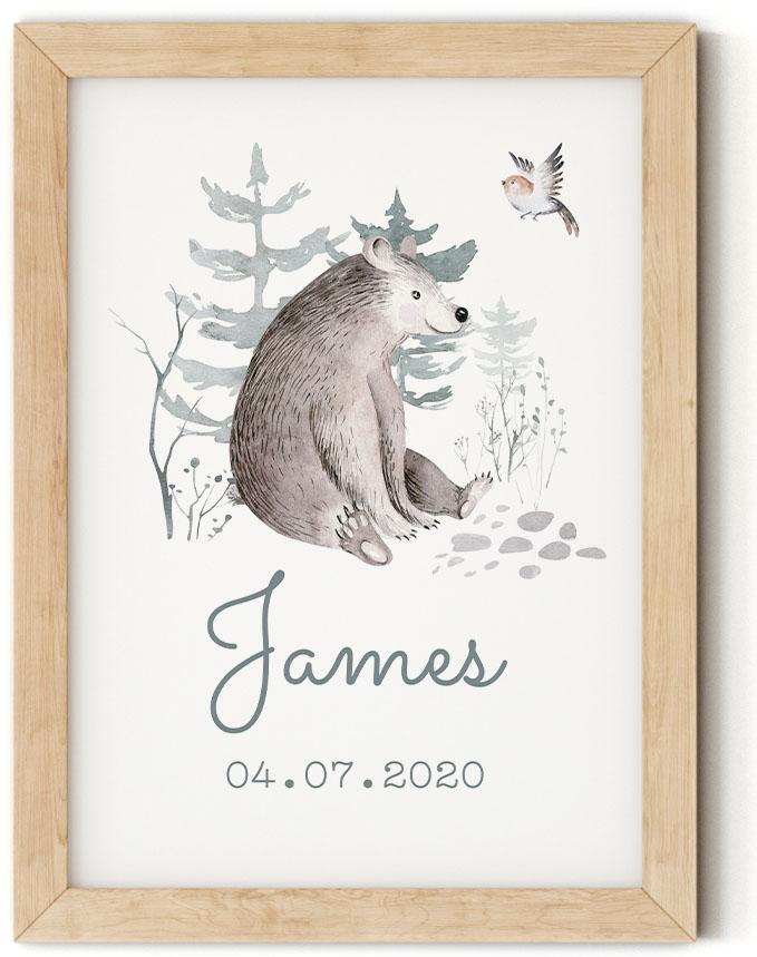 Gratis geboorteposter met beer - James - Walloha
