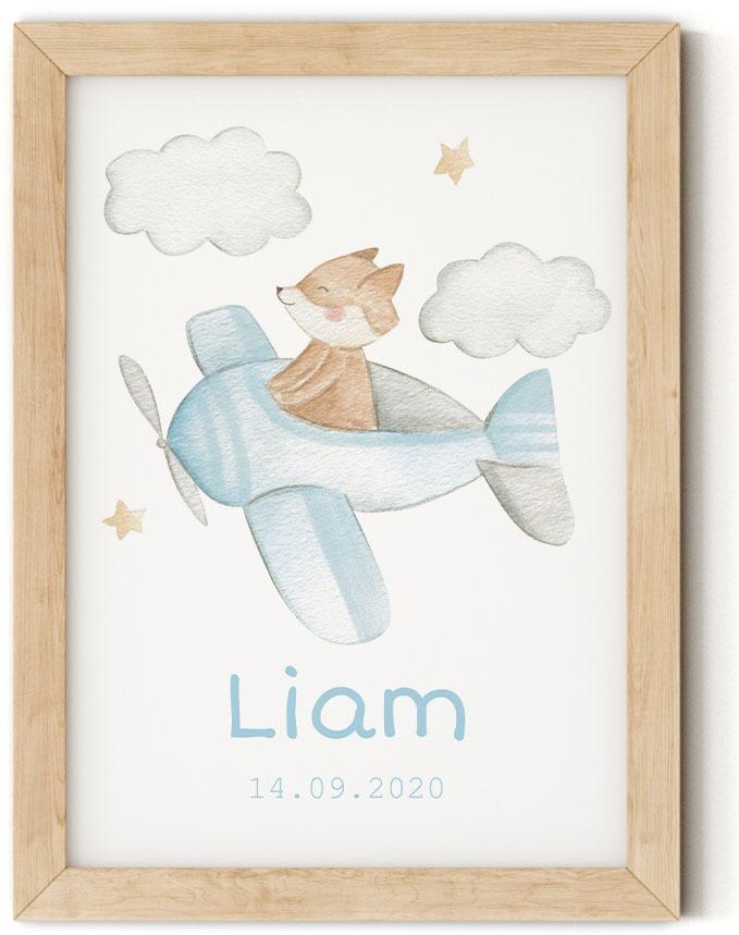 Gratis geboorteposter met vos - Liam - Walloha