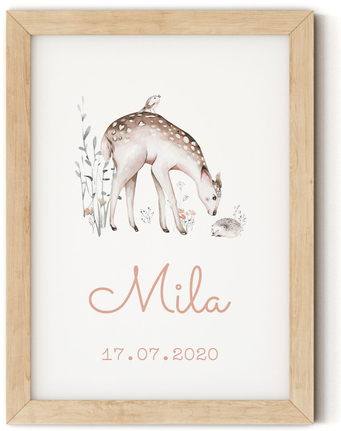 Gratis geboorteposter met hert - Mila - Walloha