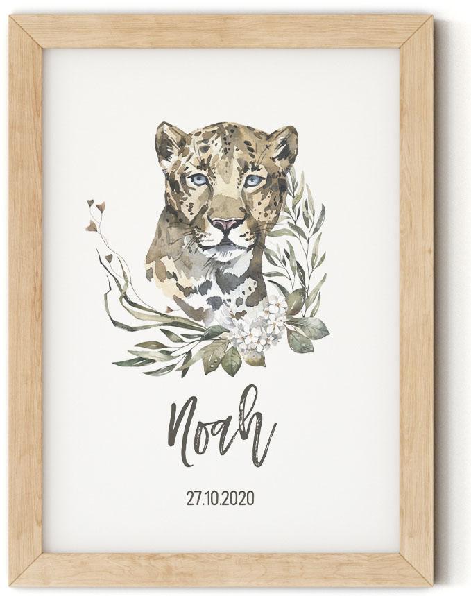 Gratis geboorteposter met luipaard - Noah - Walloha