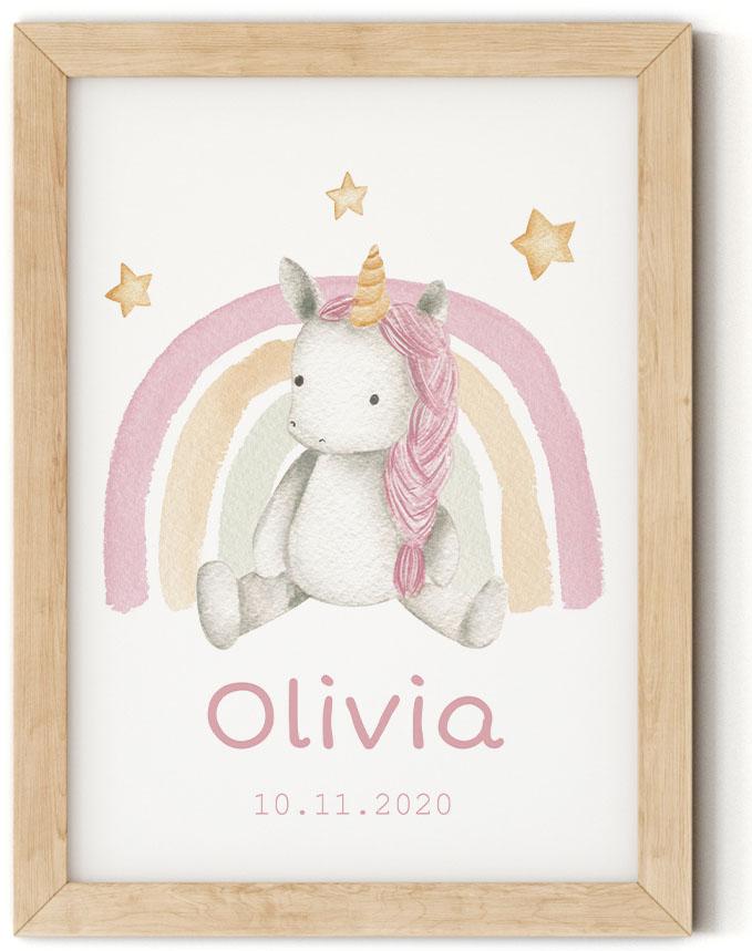 Gratis geboorteposter met eenhoorn - Olivia - Walloha