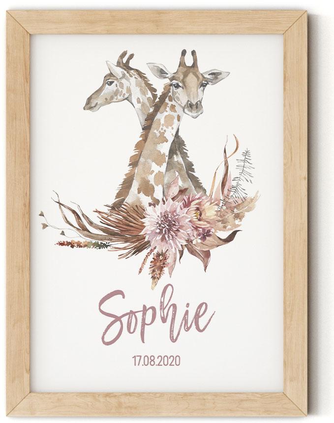 Gratis geboorteposter met giraf - Sophie - Walloha