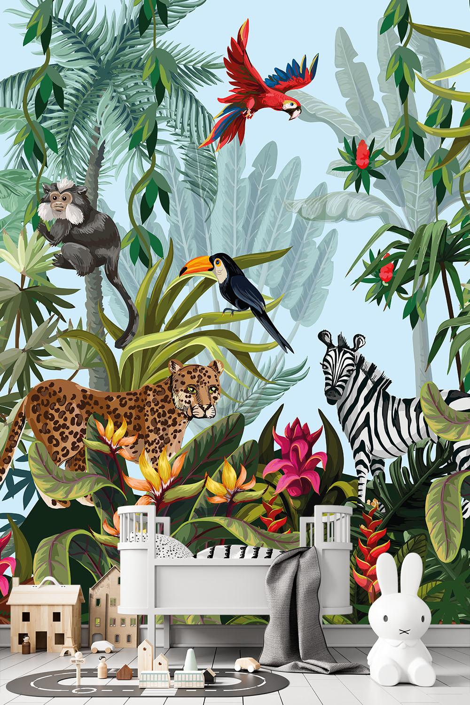 Jungle behang met dieren - Oerwoud explosie ~ Walloha