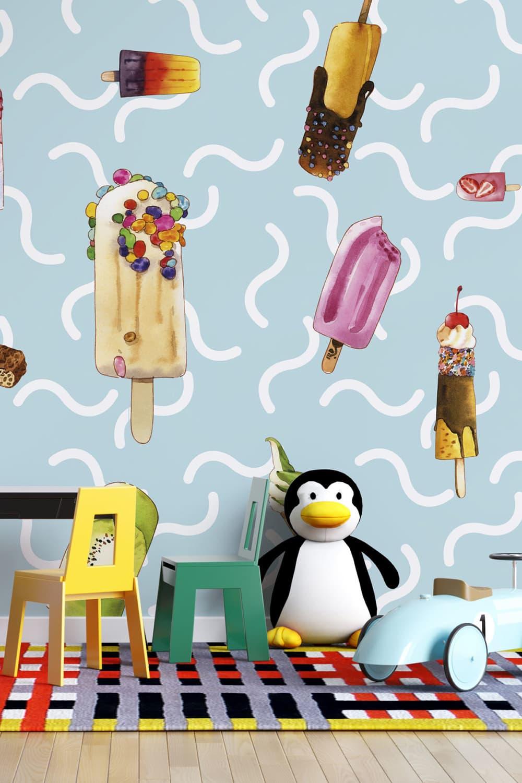IJsjes behang voor kinderen - IJsjes regen ~ Walloha.com