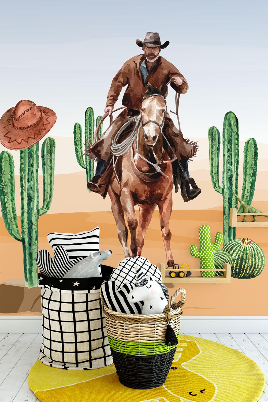 Cowboy behang voor kinderen - Cowboys in het wilde westen ~ Walloha