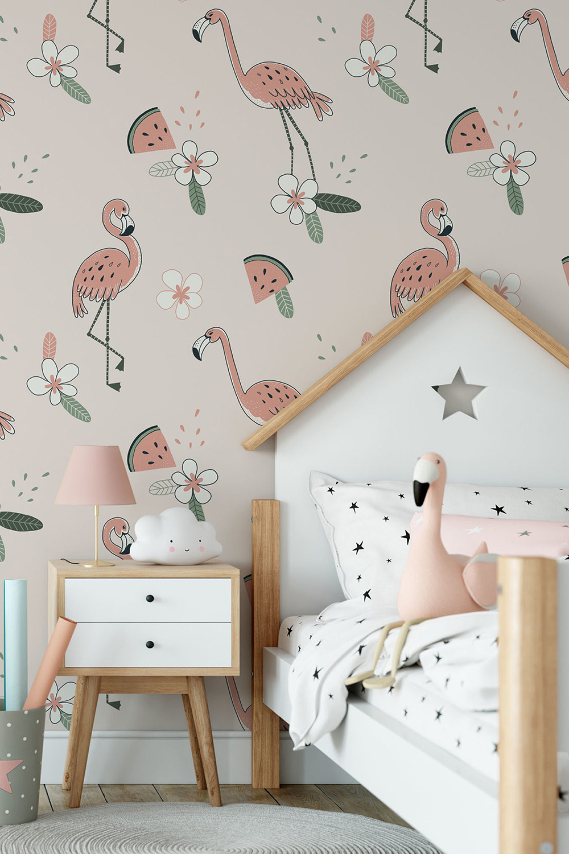 Flamingo behang voor meisjes - Tropico flamingo ~ Walloha