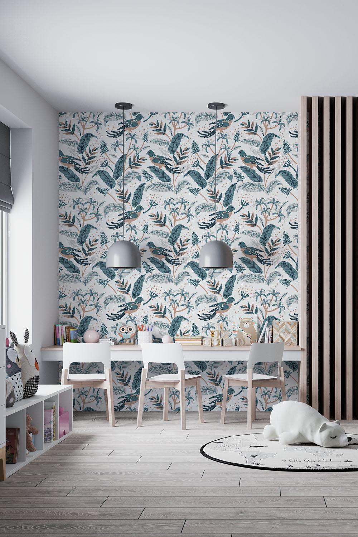 Behang vogels jongenskamer - Tropische vogels, blauw ~ Walloha