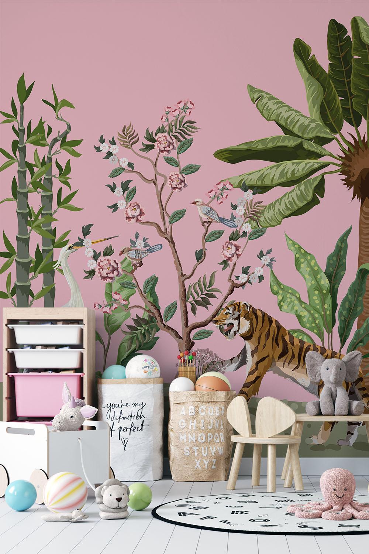 Roze jungle behang - Oosterse jungle ~ Walloha