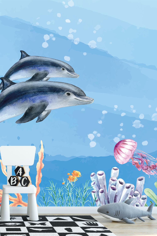 Oceaan behang kinderkamer - Zwemmen met dolfijnen ~ Walloha