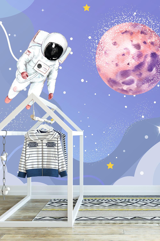 Ruimte behang voor kinderen - Astronauten op ruimtereis ~ Walloha
