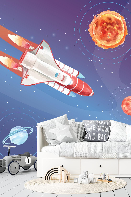 Ruimte behang met astronauten - Reis door de ruimte ~ Walloha