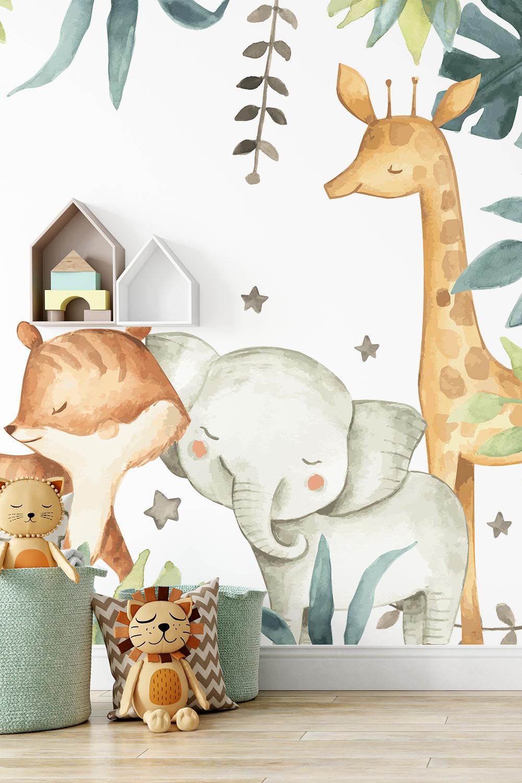 Dieren behang kinderkamer - Schattige safari dieren ~ Walloha