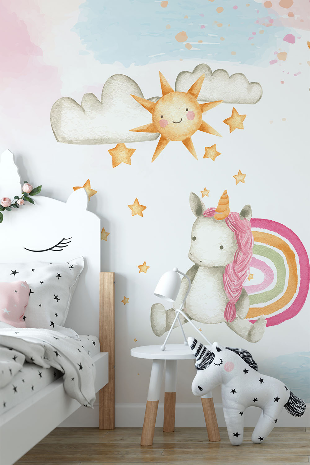 Unicorn eenhoorn behang - Eenhoorn sterrenregen ~ Walloha