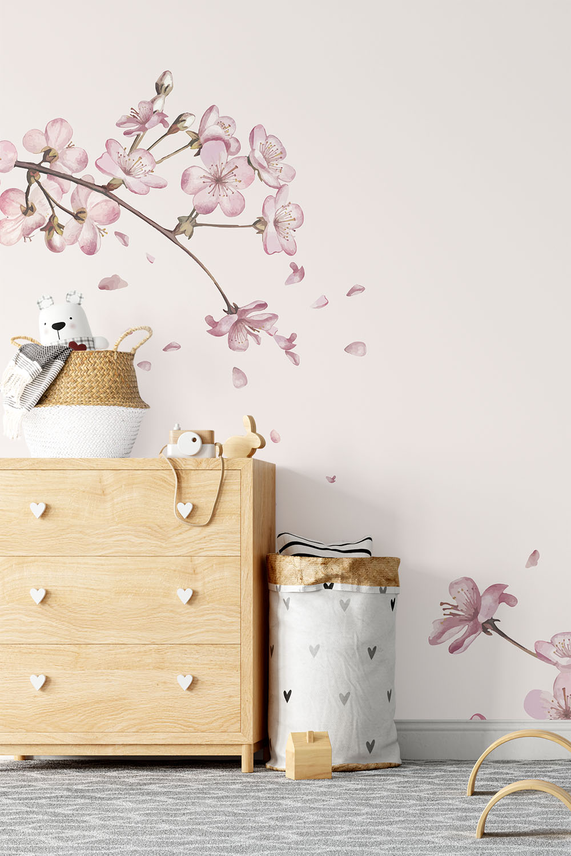 Bloemenbehang voor kinderen - Japanse kersenbloemen ~ Walloha