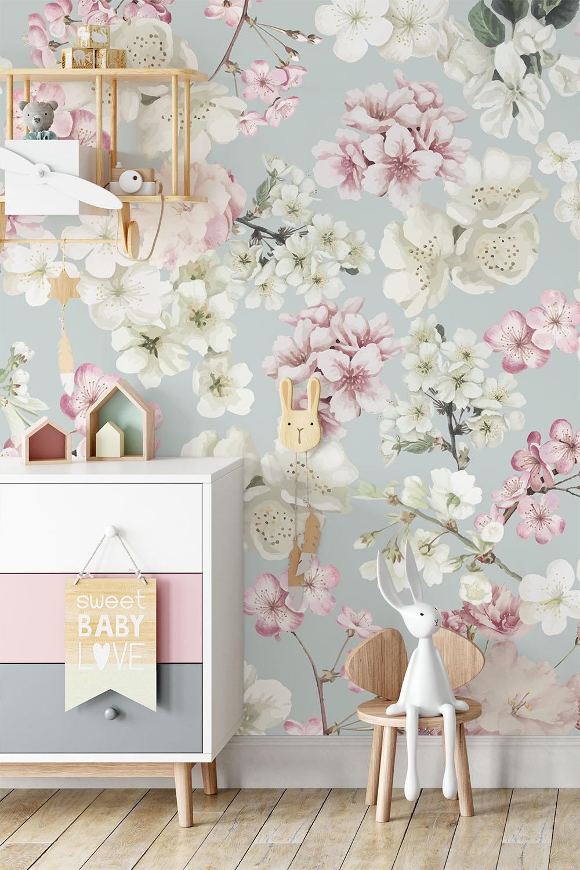 Bloemenbehang Sierlijke kersenbloemen ~ Walloha