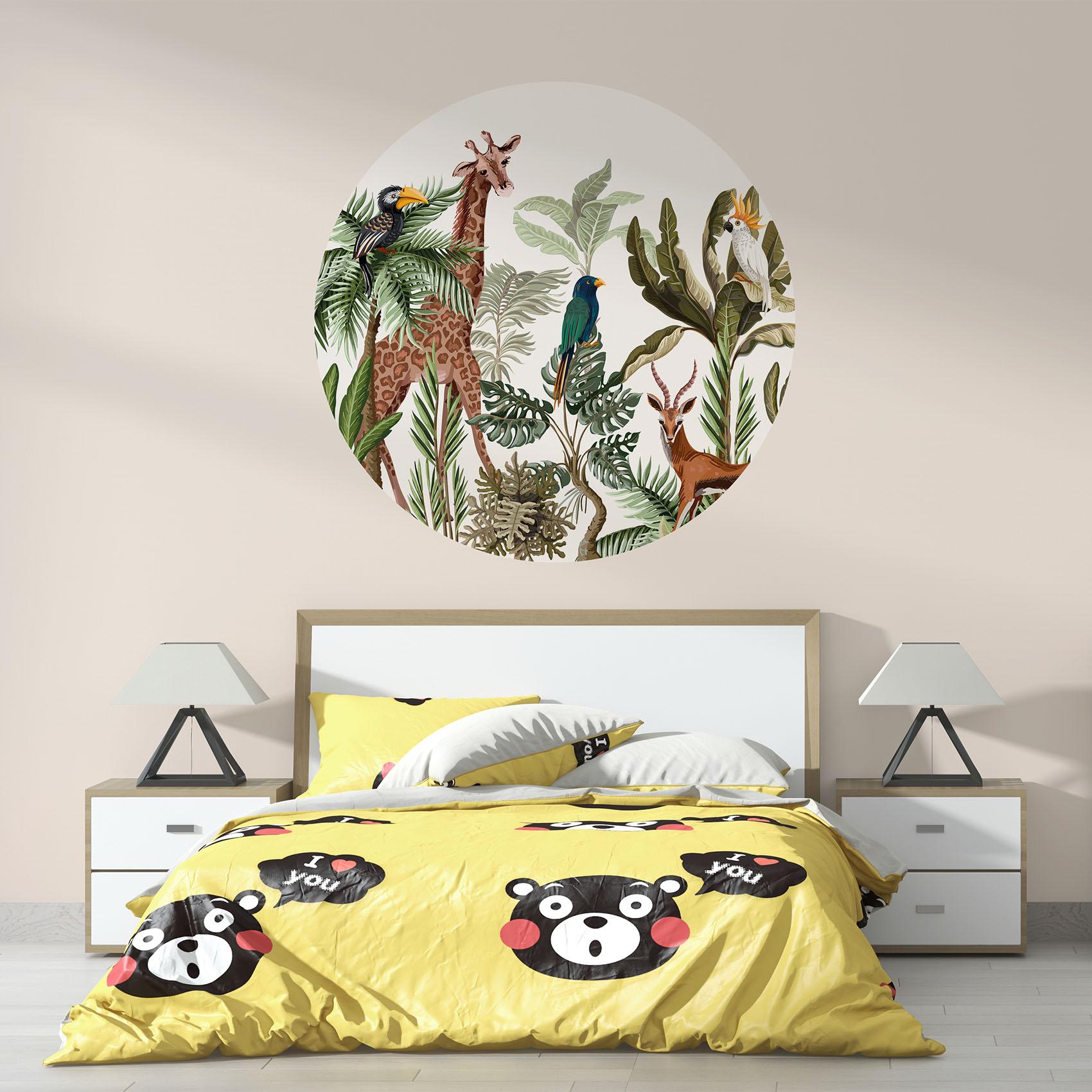 Behangcirkel Exotische jungle dieren