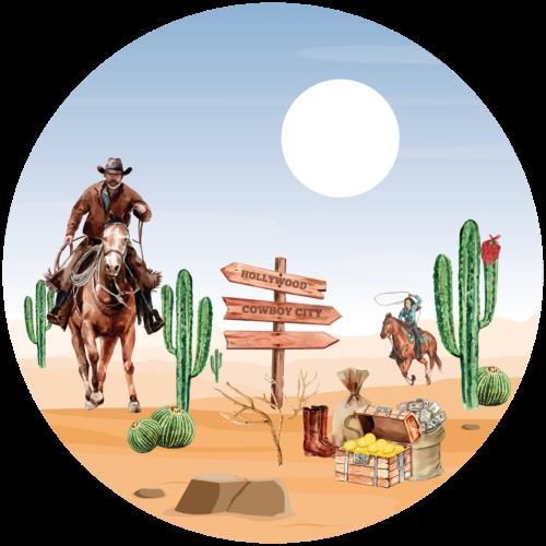 Behangcirkel Cowboys in het wilde westen