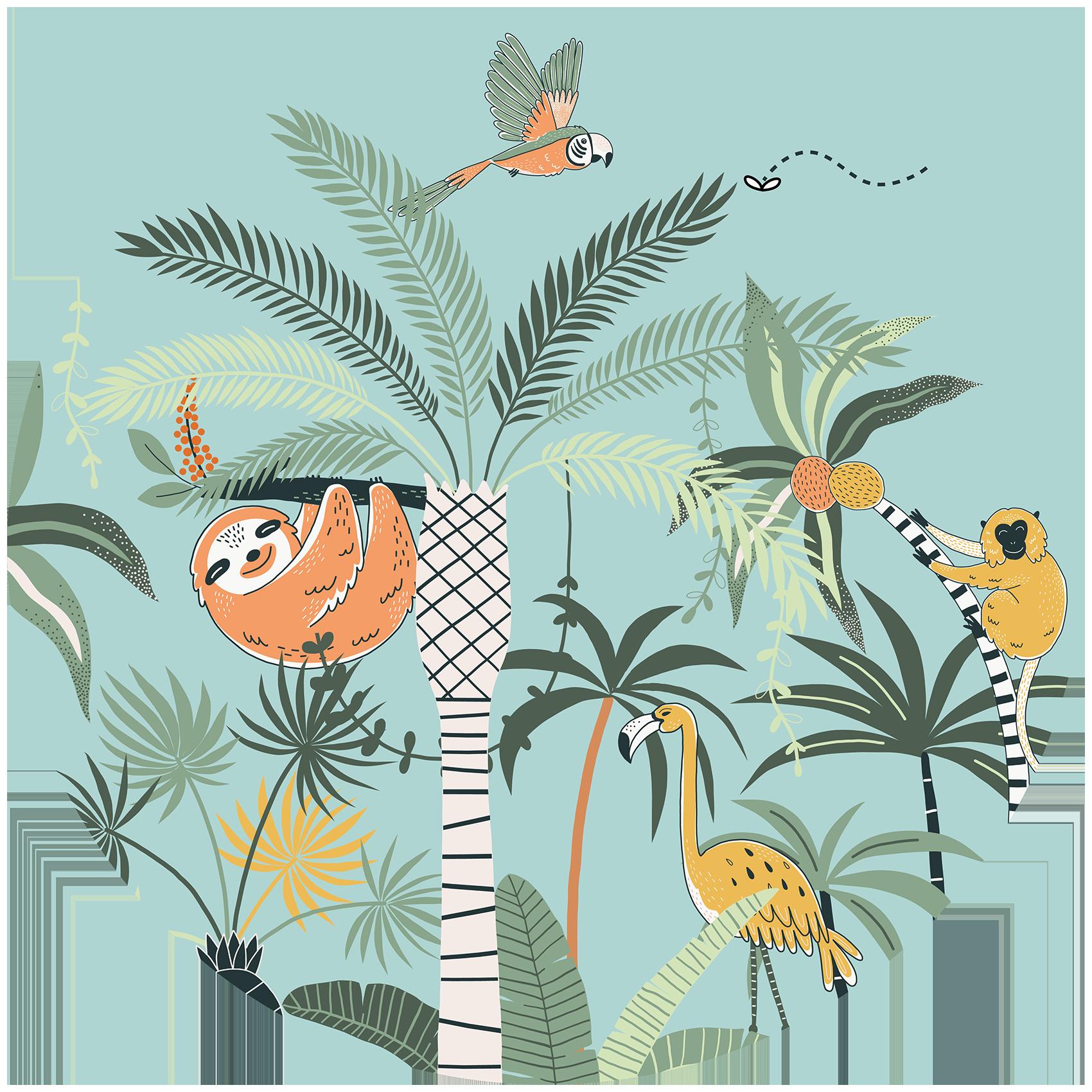 Behangcirkel Gebungel in de jungle