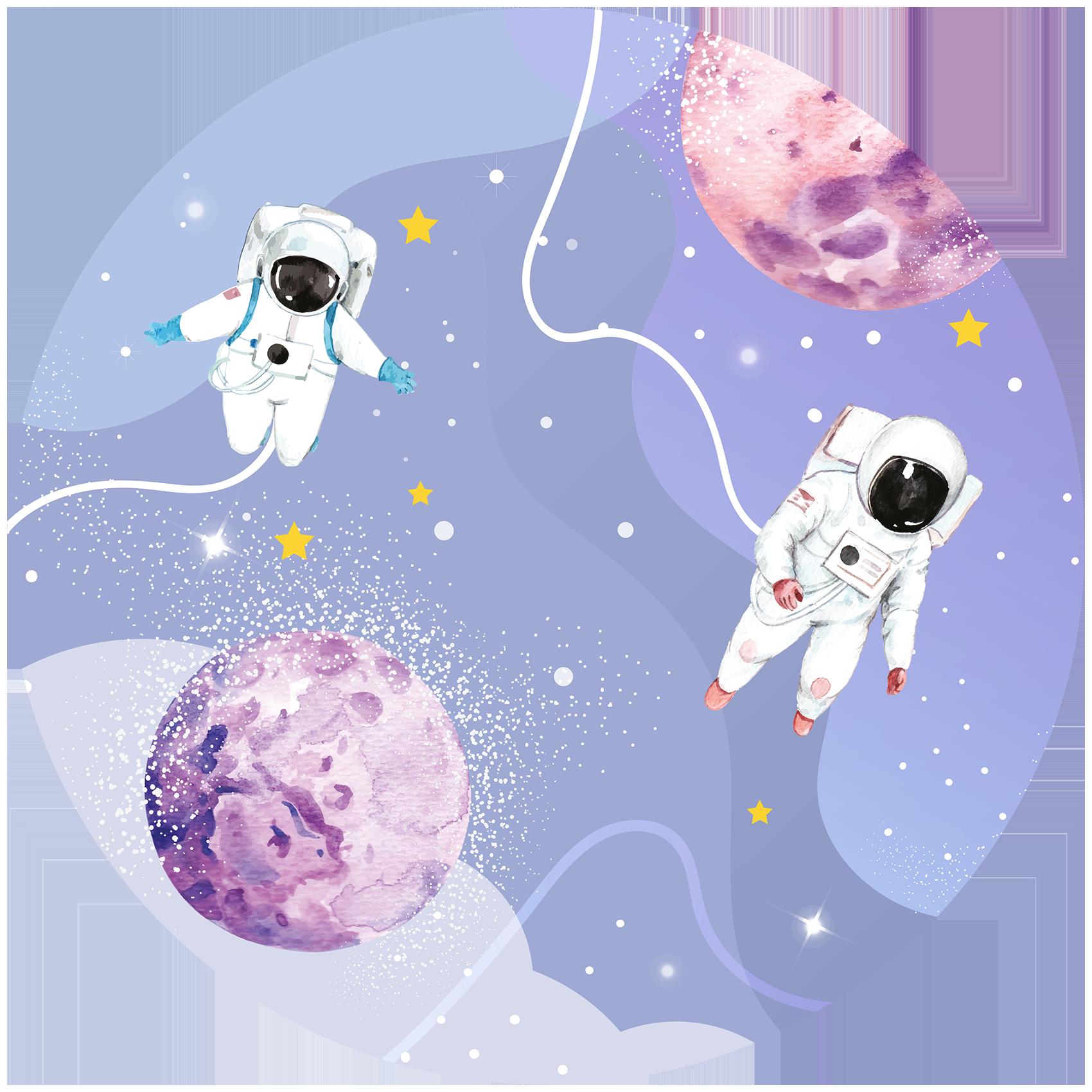 Behangcirkel Astronauten op ruimtereis