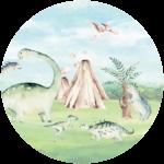 CK-028-Behangcirkel Dinosauriers op de vlakte