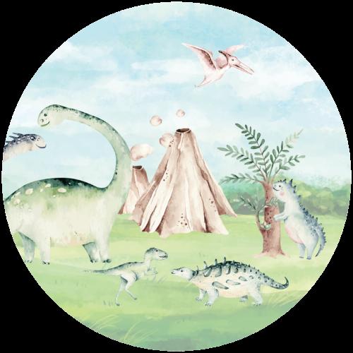 Behangcirkel Dinosauriers op de vlakte