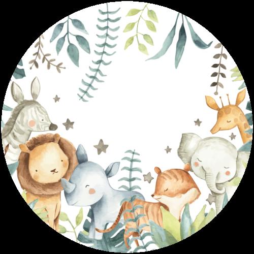 Behangcirkel Schattige safari dieren