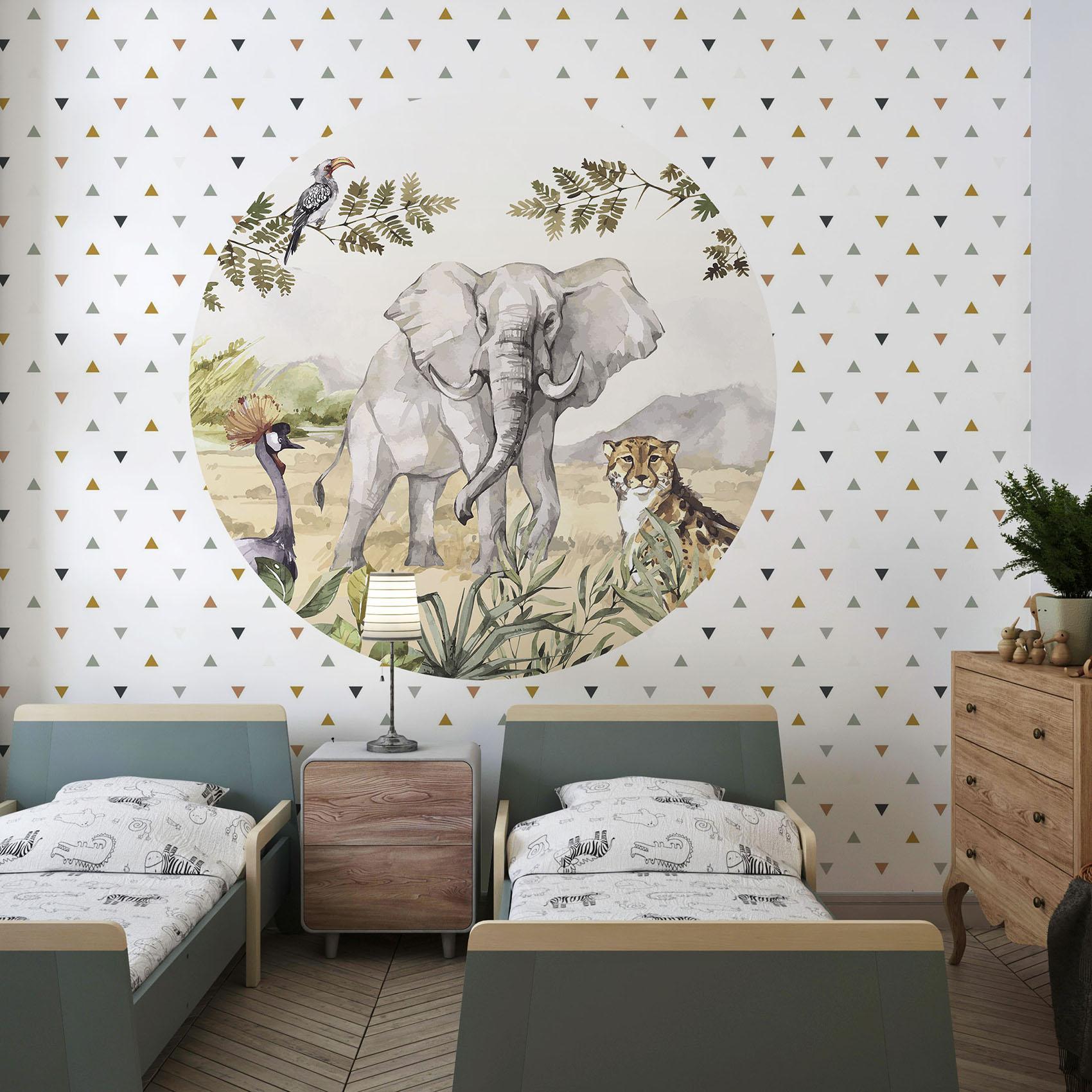 Behangcirkel Dieren van de savanne