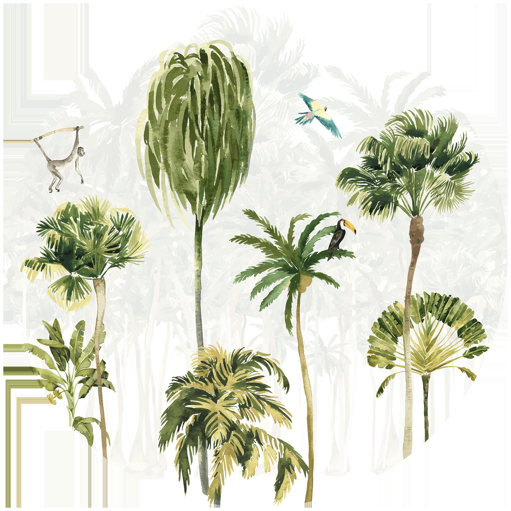 Behangcirkel Palmbomen paradijs
