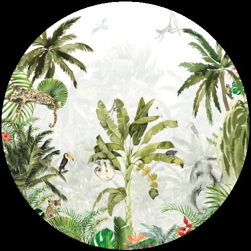 Behangcirkel Diep in de jungle