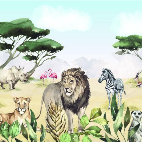 Kinderbehang leeuwen en safari dieren