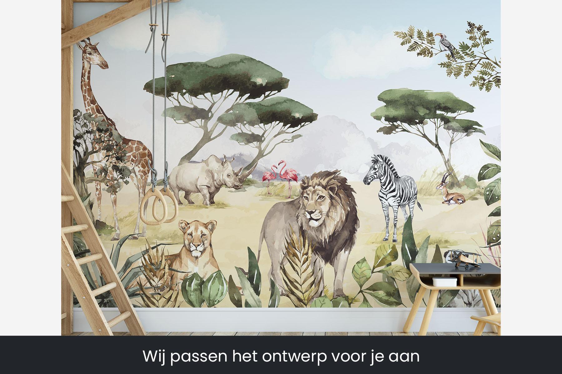 Behang met leeuwen