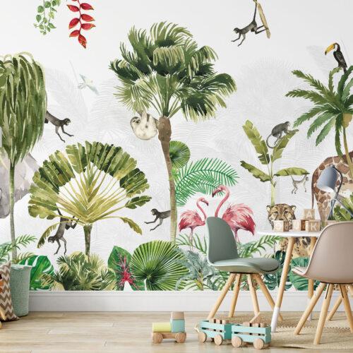 Kinderkamer Jungle Safari behang