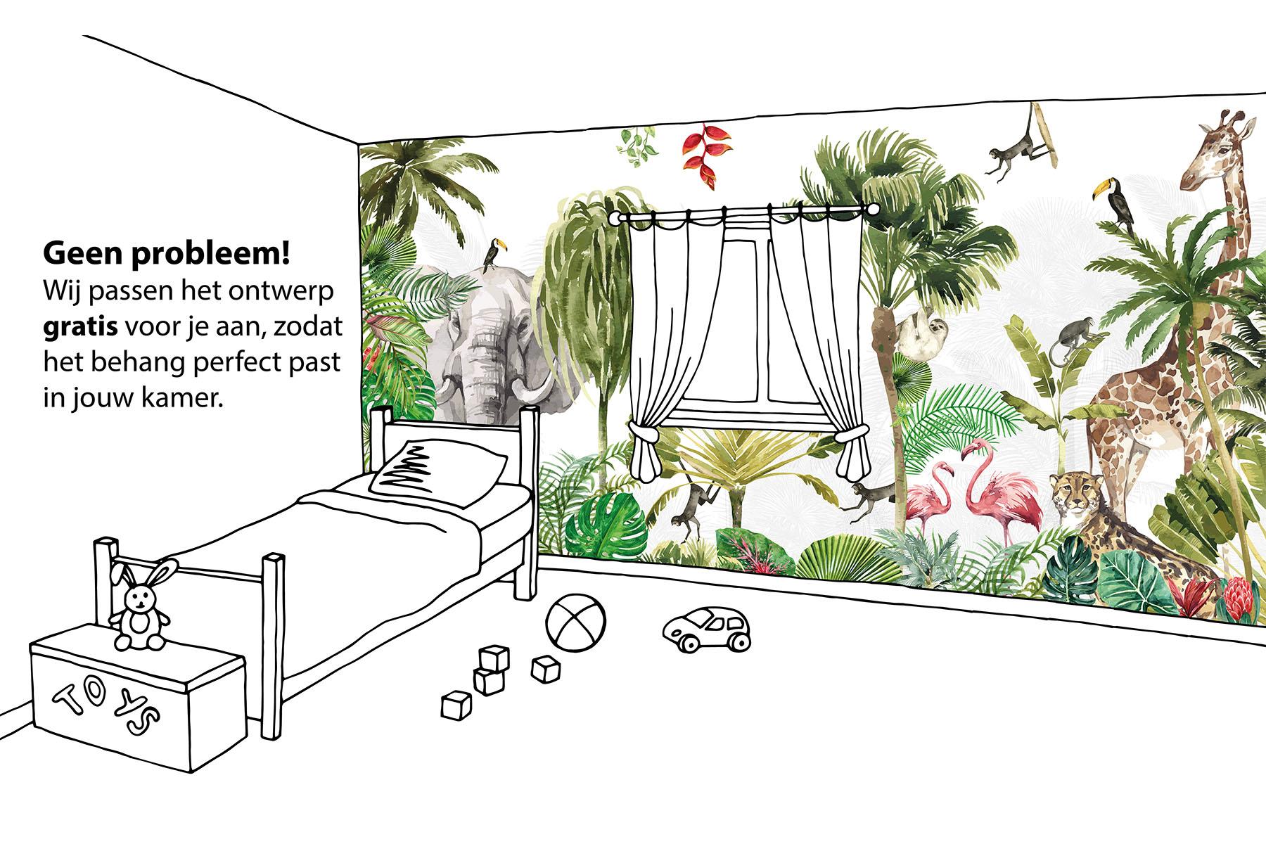 Maatwerk walloha jungle behang