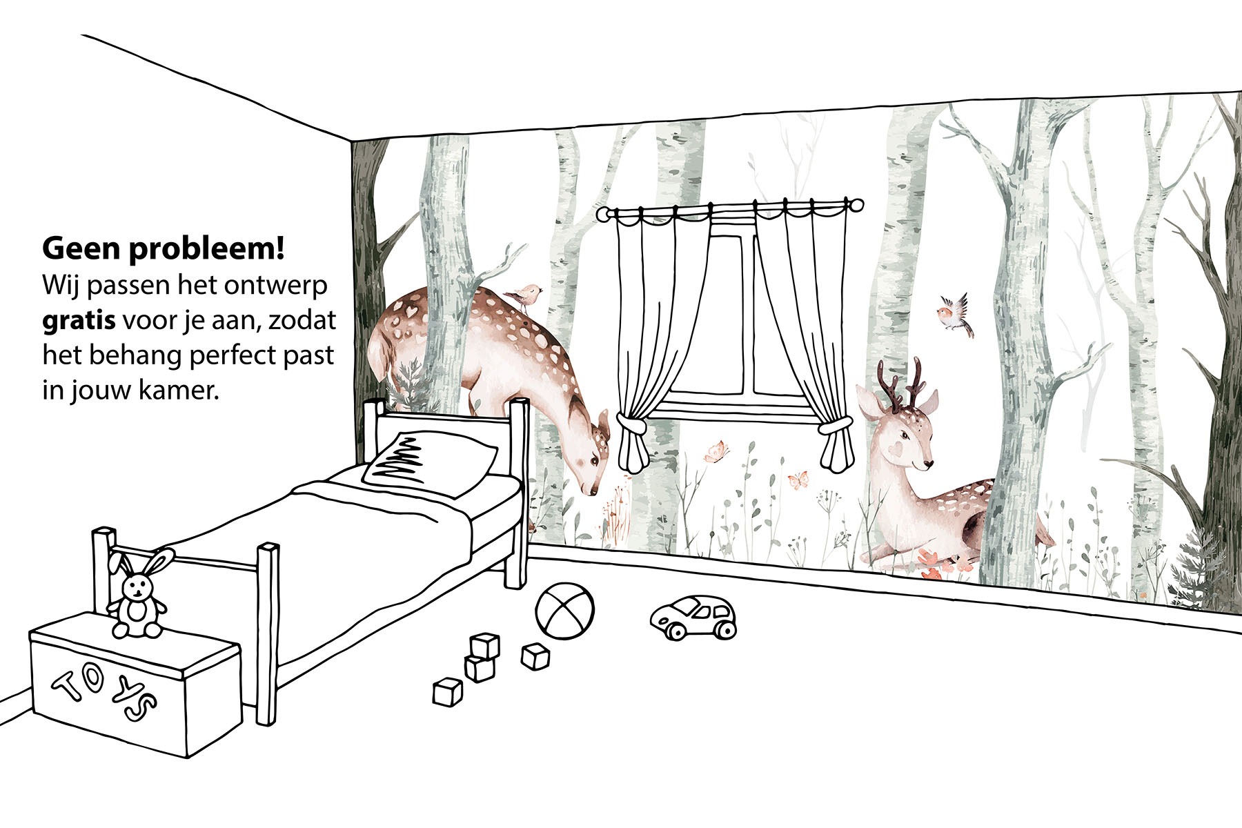 Herten behang kinderkamer