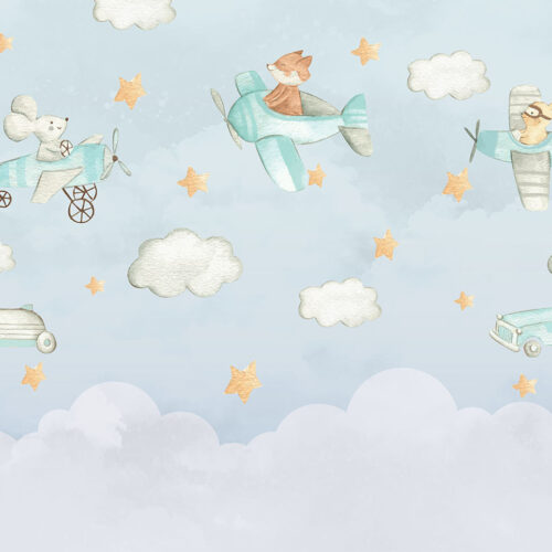 Vliegende dierenvriendjes - Dieren behang voor babykamer