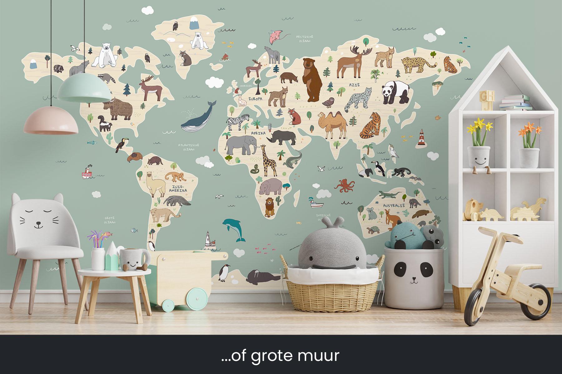 Wereldkaart met dieren - Wereldkaart behang