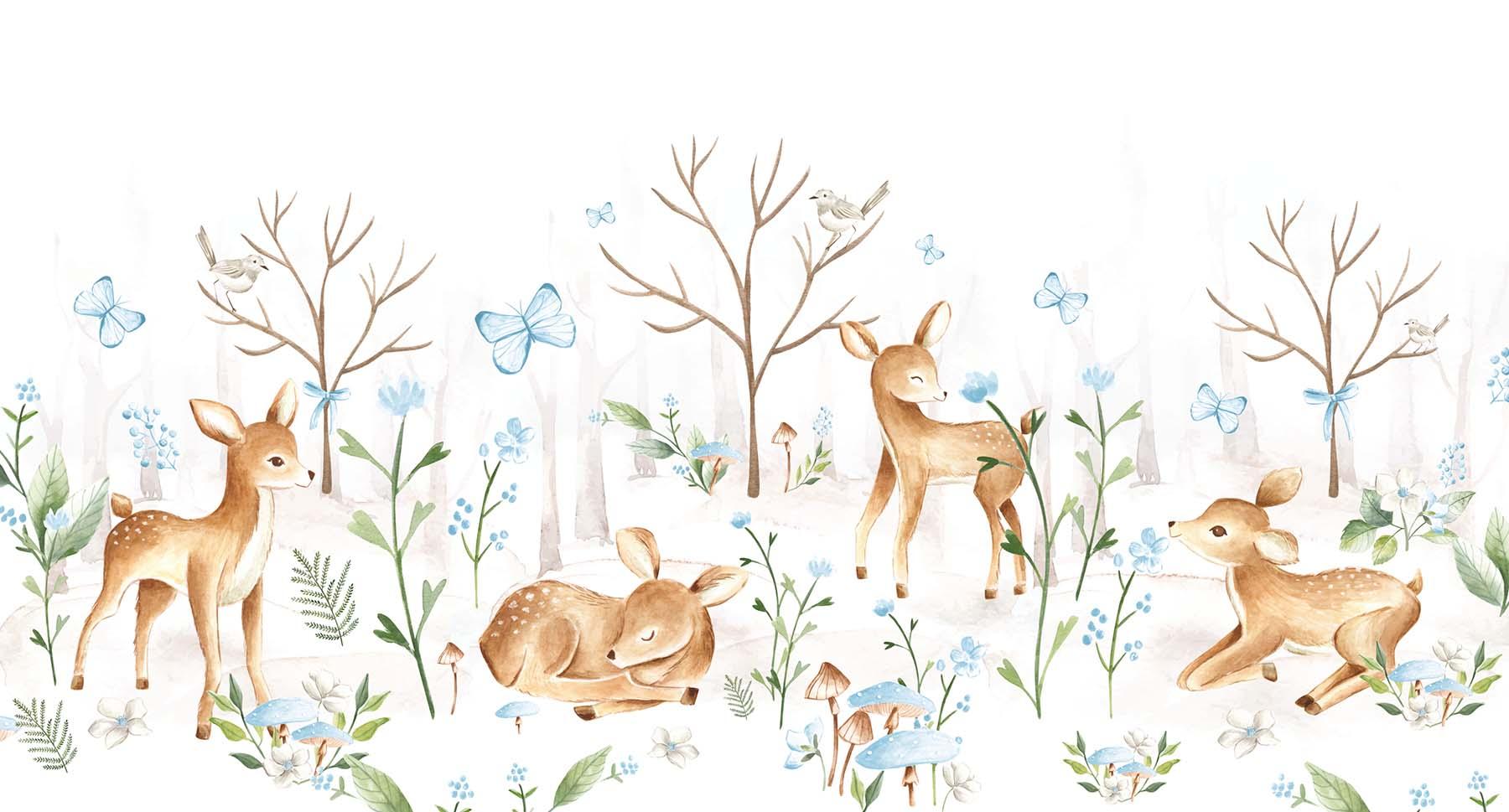 Behang - Lieve hertjes (blauw)